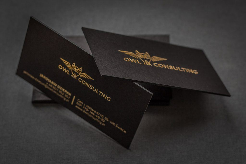 Your Premium Cards | Letterpress black card with hotstamping- Owl ...